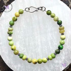 Chrysoprase Healing Bracelet with Silver Hook Clasp